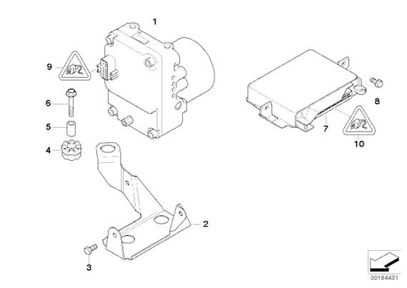 Despiece básico de la centralita para localizar los fallos del ABS.