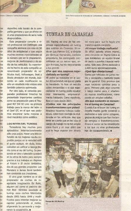 Reportaje «Tunear en Canarias» en La Provincia con 101Racing