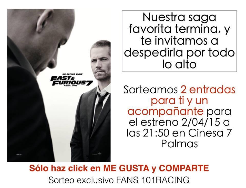 Sorteamos 2 entradas para el estreno de A Todo Gas 7 en Gran Canaria