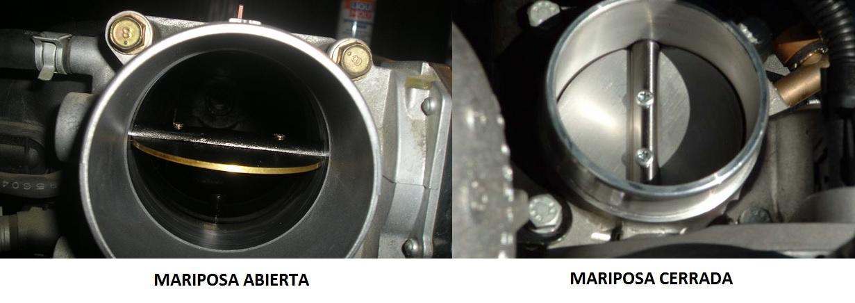 Posición de la mariposa abierta y cerrada, lo que nos hace funcionar las válvulas de descarga.