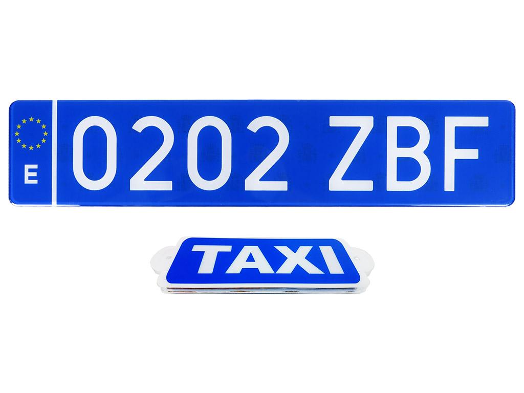 Matrículas azules traseras para taxi y vehículo de transporte con chofer VTC en Canarias