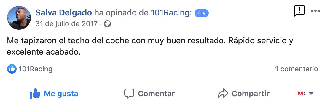 Opinión de cliente positiva sobre 101Racing en Gran Canaria
