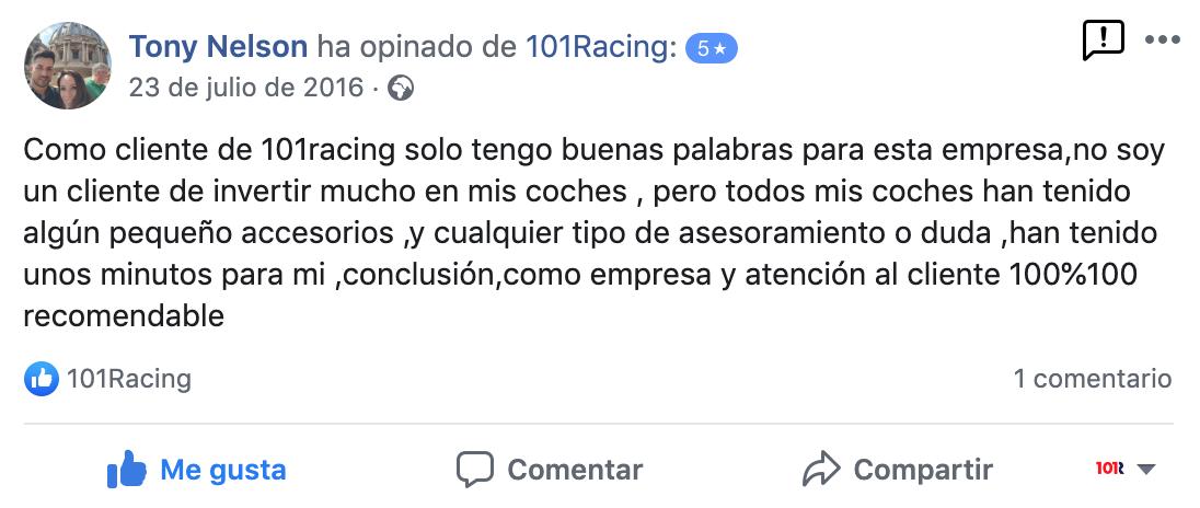 Opiniones de clientes sobre el taller de coches 101Racing